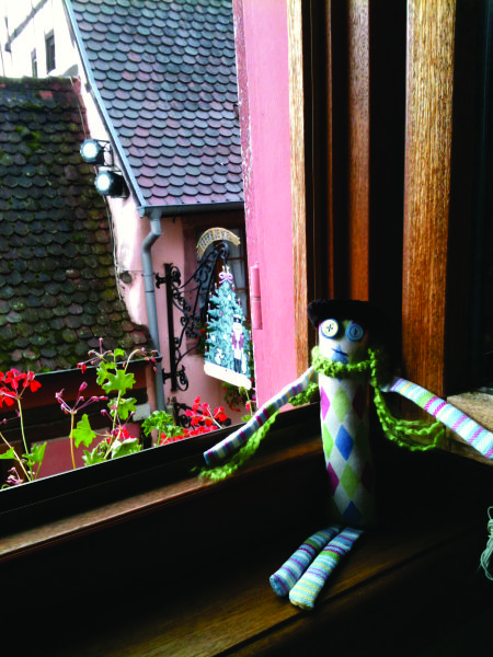 """And here I am in the windowsill in the Alsace region of France."""